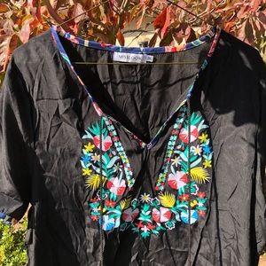 MISSLOOK boho floral tassel top, v-neck, 3XL